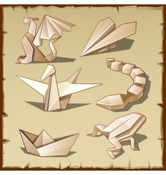 Various figures from paper like art of origami vector