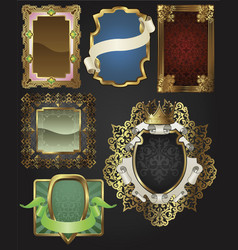 vintage retro gold frames and labels vector image