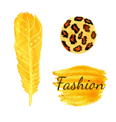 Watercolor fashion set in yellow color leopard vector