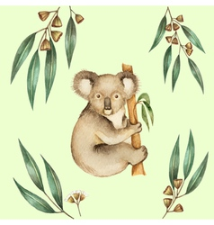 Watercolor koala and the eucalyptus branches vector