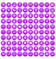 100 harmony icons set purple vector