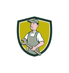 Repairman holding spanner crest cartoon vector