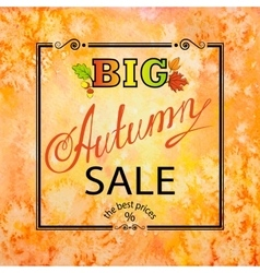 Autumn sale orange square background vector