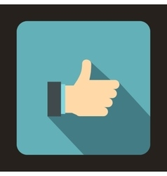Thumb up gesture icon flat style vector