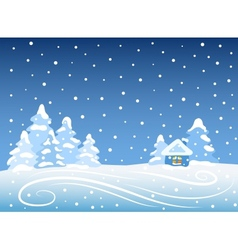Winter landscape with house vector image