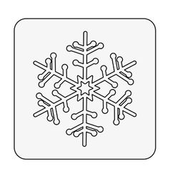 monochrome contour square with snowflake vector image