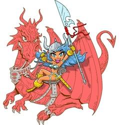 Girl Dragon Rider vector image