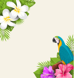 Exotic border with parrot ara flowers plumeria vector