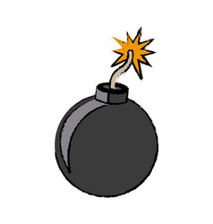 bomb comic fire danger icon vector image