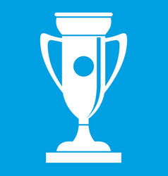Winning cup icon white vector