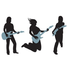Women with guitars silhouettes on white vector