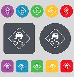 Road slippery icon sign a set of 12 colored vector