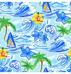 Hawaiian waves seamless pattern vector