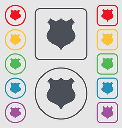 Shield icon sign symbols on the round and square vector
