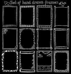 Set of hand drawn frames on blackboard vector