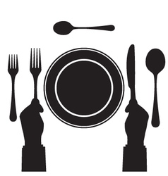 Black silhouette of a hand with a knife and fork vector image