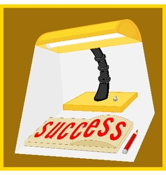 Light from the lamp shines on success word vector