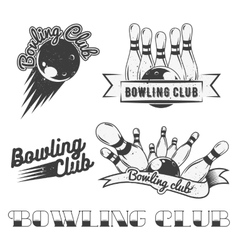 Bowling club logo set in vintage style vector