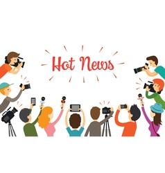 Group of reporter journalist interview vector