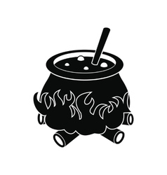 Cauldron with potion icon vector