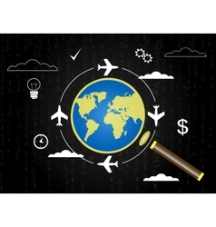 Magnifier icon with plane vector