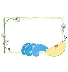 Frame with clover apple and ladybird vector