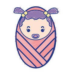 Baby girl with pacifier and hairstyle vector