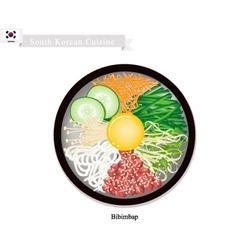 Bibimbap or korean mixed rice with meat vegetable vector