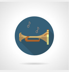 Brass wind instruments bugle round icon vector