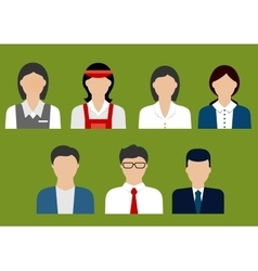 Business and sales profession flat avatars vector image