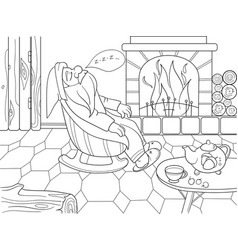 childrens coloring book cartoon the interior of vector image