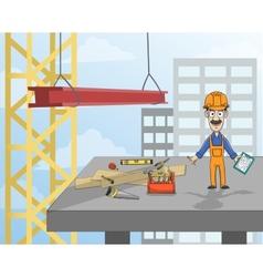 Construction worker on platform vector image vector image