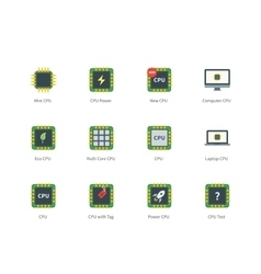 Cpu color icons on white background vector