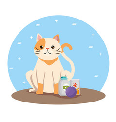 Cute cat with products pet friendly vector