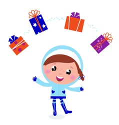 cute winter child vector image vector image