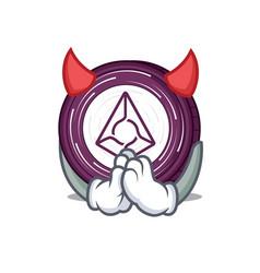 Devil augur coin mascot cartoon vector