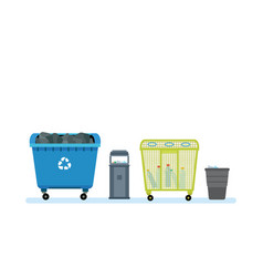 different kinds of garbage cans containers vector image vector image