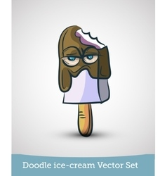 Doodle ice-cream with eyes isolated on white vector