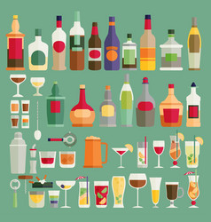 Drinks and beverages icon set flat vector