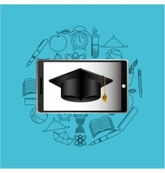 Education online concept graduation cap icon vector