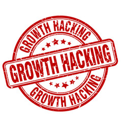 Growth hacking red grunge stamp vector