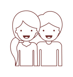 Half body people with woman with pigtail hairstyle vector