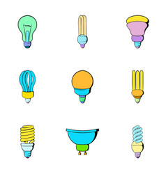 halogen icons set cartoon style vector image vector image