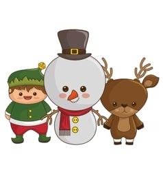 Happy merry christmas kawaii style characters vector