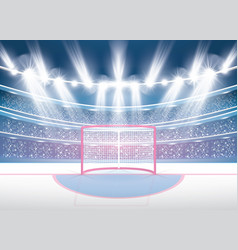 Ice hockey stadium with spotlights and red goal vector