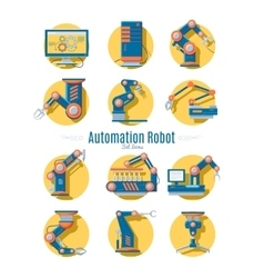 Industrial robot icons collection vector