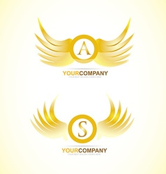 Letter wings gold golden logo vector image vector image
