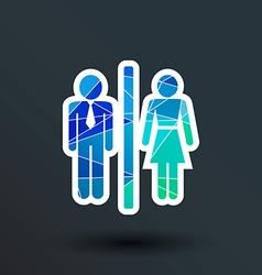 Man Woman restroom sign icon button logo symbol vector image vector image