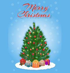 merry christmas greeting card design in light vector image vector image