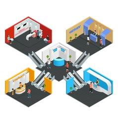 Multistore exhibition isometric composition vector
